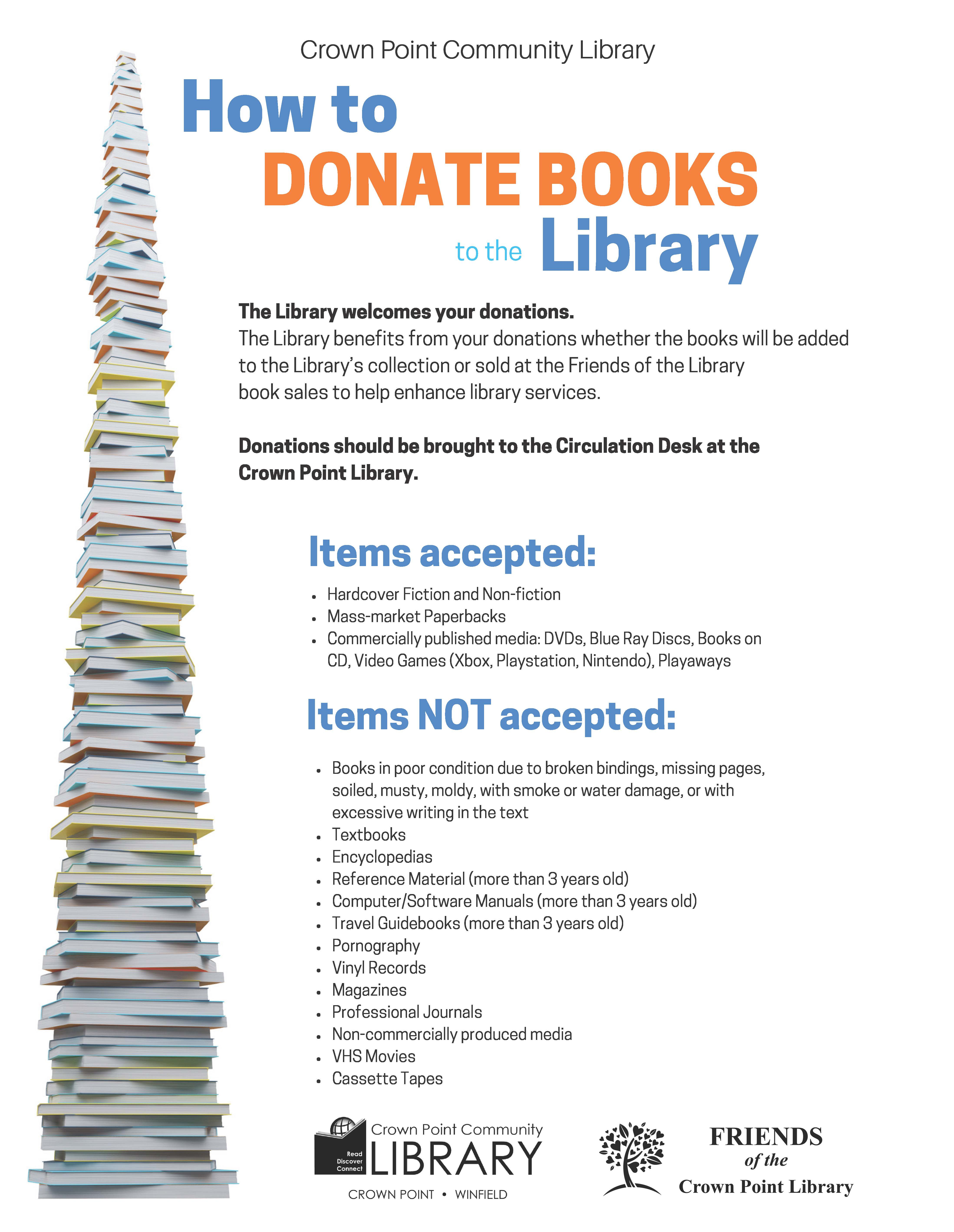 Crown Point Community Library - How To Donate Books To The